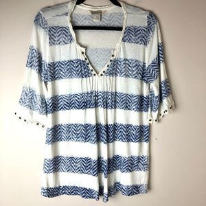 Lucky Brand | Cream & Blue Striped Tee